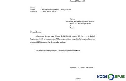 Contoh Surat Pengantar Dari Perusahaan Ke BPJS Kesehatan