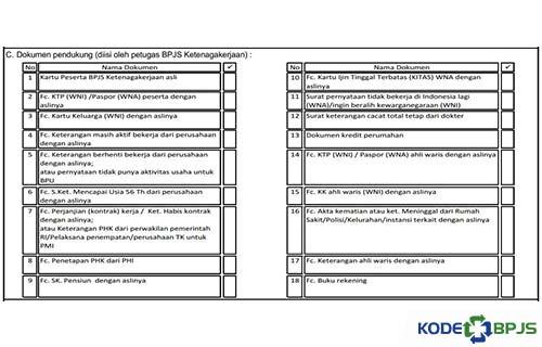 Dokumen pendukung diisi petugas BPJS Ketenagakerjaan