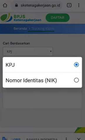 Nomor KPJ atau Nomor Identitas NIK