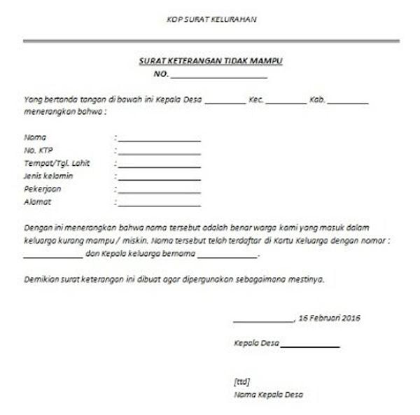 Contoh SKTM Untuk BPJS 2