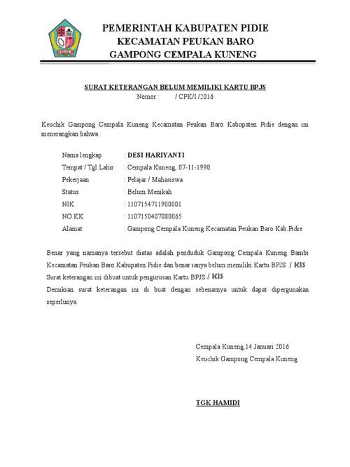Contoh Surat Pengantar KIS dari Desa