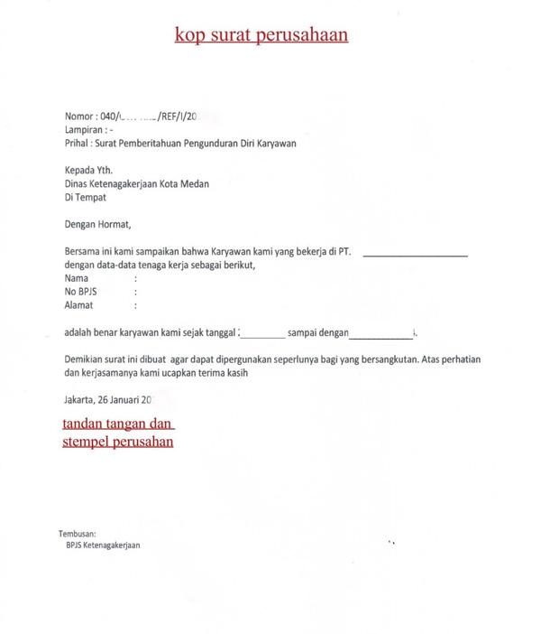 Contoh Surat Penonaktifan