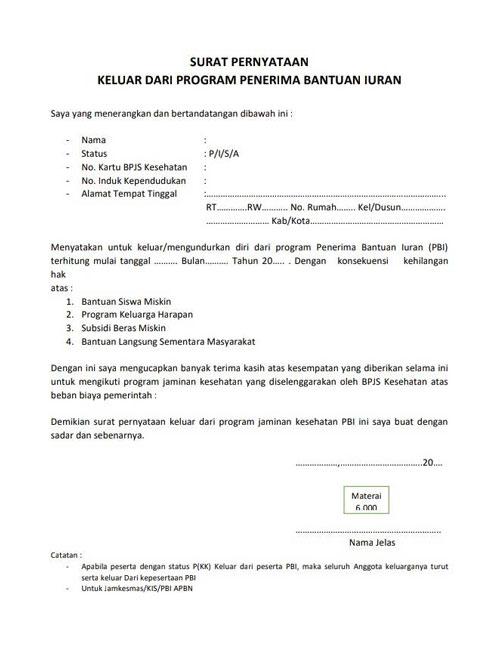 Contoh Surat Permohonan Pengalihan BPJS 1