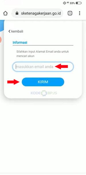 Memasukkan Alamat Email