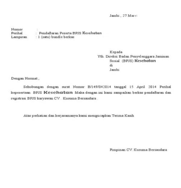 Contoh Surat Permohonan Bergabung BPJS Kesehatan Atas Perusahaan
