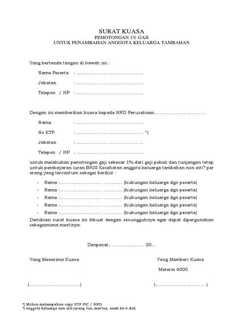 Contoh Surat Penambahan Anggota Keluarga BPJS Kesehatan 2