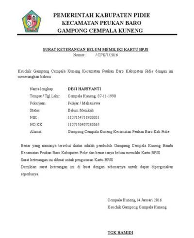 Contoh Surat Pengantar BPJS dari Desa