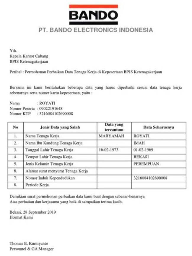 Contoh Surat Permohonan Perubahan Data BPJS Ketenagakerjaan 2