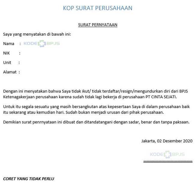 Surat Pernyataan Tidak Ikut BPJS Ketenagakerjaan