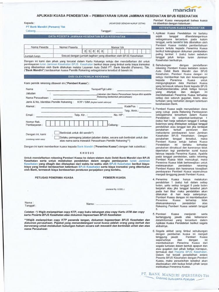 Contoh Formulir Autodebet Iuran BPJS Kesehatan