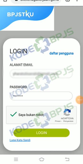 2. Login Aplikasi BPJSTKU