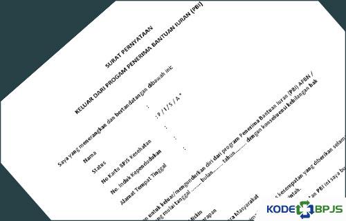 Contoh Surat Pernyataan Keluar dari PBI BPJS Kesehatan